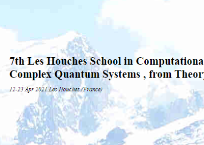 Les Houches School: 'Dynamics of Complex Quantum Systems: from Theory to Computation', Les Houches, France, 12 to 23 April 2021